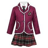 dPois Disfraz Colegiala Niña Uniforme Escolar Japones Camisa Manga Larga Falda Escocesa Conjunto Disfraces de Escuela Traje de Cosplay Rojo Vino 4-5 Años
