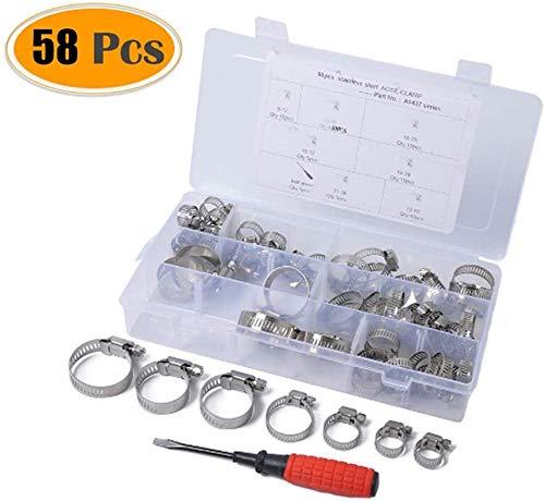 58 PCS Stainless Steel verstelbare Worm Gear slangklem brandstofleiding Clip met een schroevendraaier, Diameter Range: 6-38mm