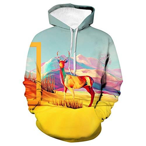 Sweat-Shirts 3D Hoodies,T-Shirt à Capuchon en Vrac, Uniforme de Baseball, élan coloré, 2XL,Manche Longue Vêtements de Sport pour Couples avec Grosse Poche