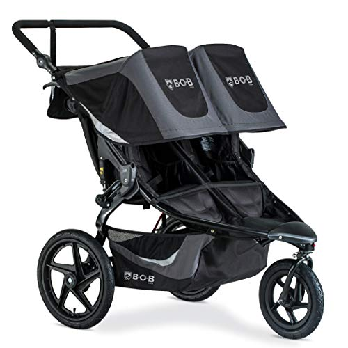 BOB Gear Revolution Flex 3.0 Duallie Double Jogging Stroller | Smooth Ride Suspension + Easy Fold + Adjustable Handlebar, Graphite Black [New Logo]