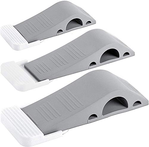 Wundermax Door Stoppers - Rubber Security Wedge for Carpet, Concrete, Tile, Linoleum & Wood - Heavy Duty Door Stop - Home Improvement - 3 Pack - Gray