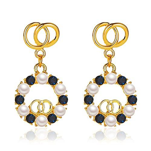 WEFH Vintage Pearl Beads Colgante de círculo Doble Pendientes Elegantes de Moda Coreana, Negro