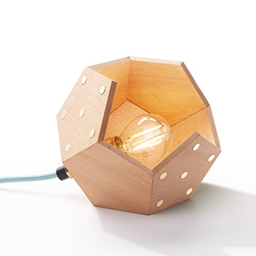 Magnetic modular table lamp Basic TWELVE made out of wood with light blue cable