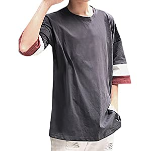 (ネルロッソ) NERLosso カットソー Tシャツ 5分袖 7分袖 メンズ 大きい ロンT 正規品 XL グレー cmx24275-XL-gy