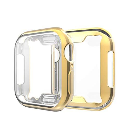Funda Protectora de Silicona de 2 Piezas para iWatch Series 6 5 4 3 2 1 SE 38 Protector de Pantalla-Dorado, 40mm