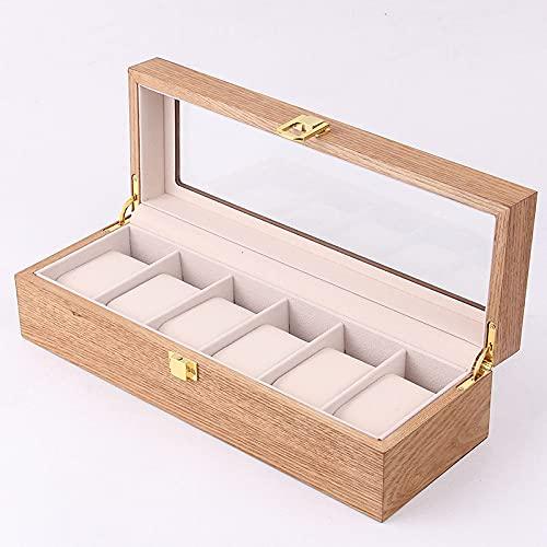 LOSKORIN Caja para 6 relojes, caja de madera con ventana de cristal, regalo para señor