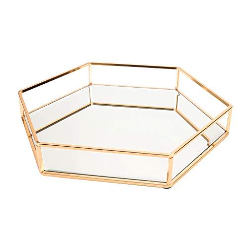 Yushu Bandeja de joyería de espejo dorado bandeja de perfume bandeja de tocador de espejo bandeja de tocador bandeja ornamentada bandeja decorativa