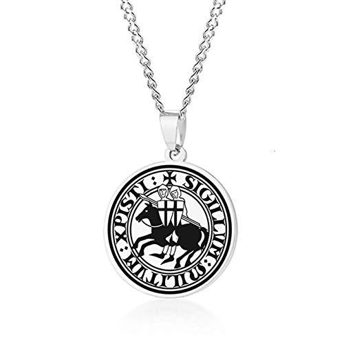 ShSnnwrl Collar Elegante Sello para Hombre de los Caballeros templarios Armas Medievales Amuleto medallón Colgante de Peltre Collares PN-12