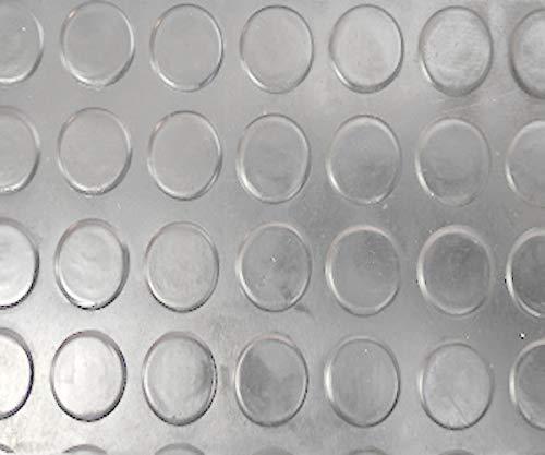 Revestimiento de Caucho Antideslizante | Suelo de Goma PVC Gris 1mm Diseño Botones (140_x_1000 CM)