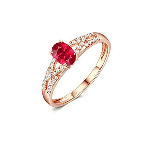 AueDsa Anillos Oro Rosa Anillos de Oro Rosa 18 Kilates Mujer Oval Rubí Rojo Blanco 0.6ct Anillo Talla 20