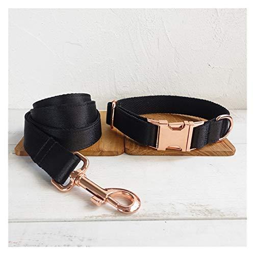Hebillas para collares de perros Caballero negro personalizado Correa de collar de perro con conjunto de pajarita con hebilla de metal de oro gratis placa de identificación grabada para un perro grand
