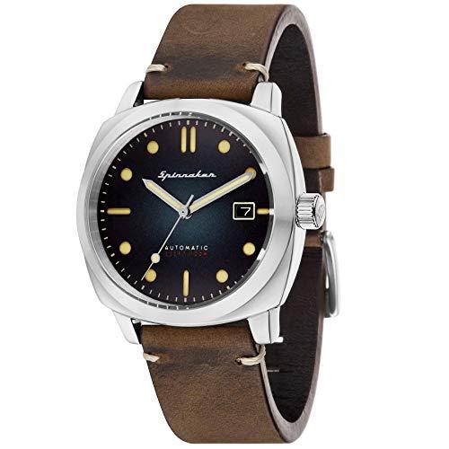 SPINNAKER Hull Herren-Armbanduhr 42mm Armband Leder Braun Automatik SP-5059-01