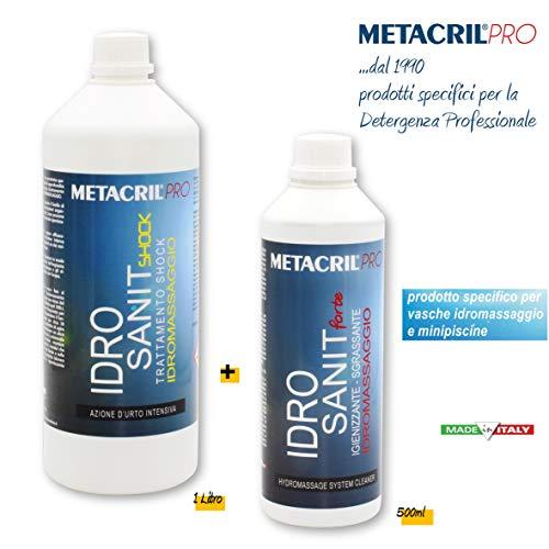 Metacril Kit 2pz. Soluzione Sanificante + Trattamento Shock per IDROMASSAGGIO (Teuco, Jacuzzi,ECC.) IDRO SANIT Forte 500ml + IDRO SANIT Shock 1 Lt. + Dosatore graduato - Spedizione IMMEDIATA
