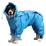 Dog Raincoat Waterproof 4 Legs Pet Rain Jacket with Hood Breathable Lightweight Dog Rain Poncho for Small Medium Large...
