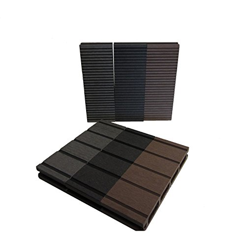 WPC Terrassendielen Basic Line - Komplett-Set Dunkelgrau | Qualitätsmuster Holz-Brett Dielen | Boden-Fliesen + Unterkonstruktion & Clips | Balkon Boden-Belag + rutschfest + witterungsbeständig