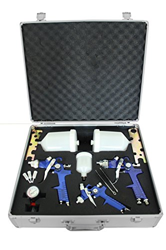 TRUTZHOLM HVLP Lackierpistolen 3er Set Spraypistole Lackierpistole Farbsprühpistolen Druckminderer Spritzpistole im Alu-Koffer Farbspritzpistolen