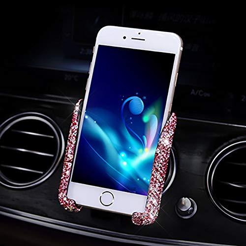 Supporto Universale per Telefono per Auto, Supporto per Bocchette dell'Aria per Auto A gravità con Strass in Cristallo di Diamante Accessori per Auto Interni per Donne E Ragazze,Rosa