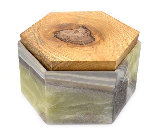 HBAR Aufbewahrungsbox für Erinnerungsstücke, sechseckig, 15,2 cm breit, 1 kg, geschnitzt aus echtem nordamerikanischen Onyx-Aragonit – The Artisan Mined Serie von hBAR