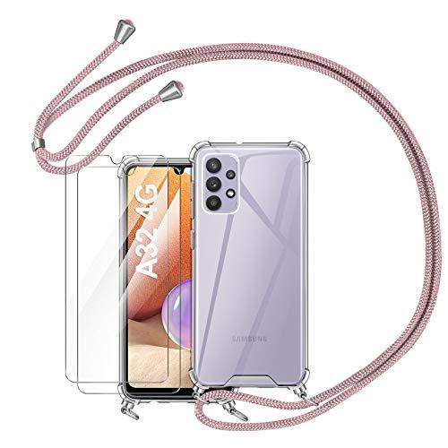 AROYI Funda con Cuerda Compatible con Samsung Galaxy A32 4G y 2 Pack Protector Pantalla, Carcasa Transparente TPU Silicona Case con Colgante Ajustable Collar Correa de Cuello Cordón, Oro Rosa