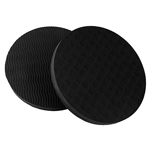 WOPODI 2 Pieces Yoga Knee Pad Thick Pilates Elbow Plank Kneeling Mat Soft Round Extra Exercise Balance Cushion Double-Sided Non-Slip Cushioned Foam Mats Portable for Knees Hand Head Wrists, Black
