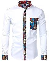 ZEROYAA Men's Hipster Patchwork Design Slim Fit Long Sleeve Button up Mandarin Collar Shirts ZZCL45 White Large