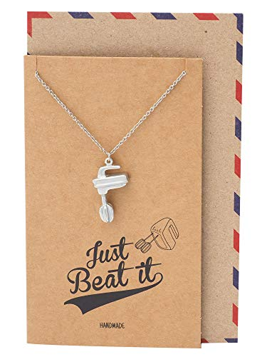 Quan Jewelry Handmade Electric Mixer Pendant Necklace, Handmade Gifts for Bakers with Quote on Brown Greeting Card, Best Motivational Baking Gifts for Women