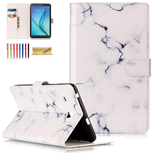 Galaxy Tab E 8.0 Case, Case for Samsung 8 inch Tab E 8.0- Dteck PU Leather Folio Stand Cover with Card Slots/Cash Holder Wallet Case for Samsung Galaxy Tab E 8.0 SM-T377/T375/T378, White Marble