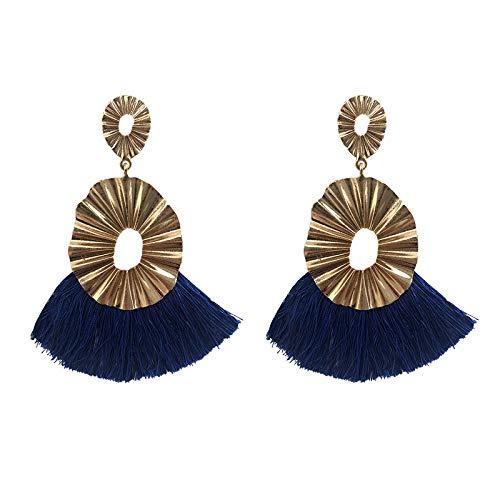 GGSDDU Alloy Tassel Earrings For Women Multicolor Optional Fashion Drop Dangle Earrings Linear Short Tassel Bohemian Style Christmas Thanksgiving Girl Gifts,Navy Blue