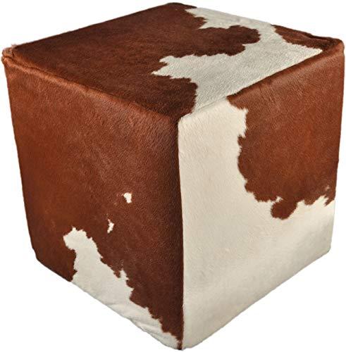 Kuhfell Hocker braun Weiss 50x50x50 cm Sitzwürfel Beistelltisch aus echtem Kuhfell in braun weiß mit Fester Schaumstoff Würfel