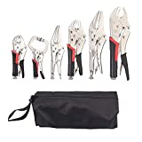 AUTOUTLET 6 Pack Set Locking Pliers Set 5 and 7-Inch Grip Pliers 10-Inch Curved Jaw Locking Pliers 5-Inch and 9-Inch Long Nose Vice Grips Pliers Set 5-Inch C-Clamp Locking Pliers with Storage Bag
