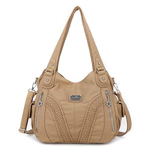 Angel Kiss vrouwenhandtas ruim meerdere zakken dames ' schoudertas mode PU dode tas satchel tas designer handtassen (A1555-3#8521#108#ARICOT)