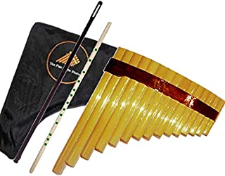 Premium Student Pan Flute Set: Bamboo Pan Flute + Tuning Stick + Case & Cleaning rod