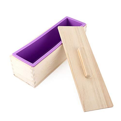 Monland Rechteckige Holz Seifen Form Mit Silikon Liner Abdeckung Laib Seifen Form Werkzeug DIY Seife Kerzen Form 1200G Formen BAU Werkzeug