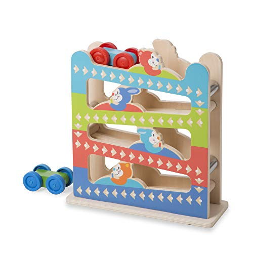 Melissa & Doug First Play Roll & Ring Ramp Tower (Cars and Vehicles, 2 Wooden Cars, Great Gift for Girls and Boys - Best for Babies and Toddlers, 12 Month Olds, 1 and 2 Year Olds)