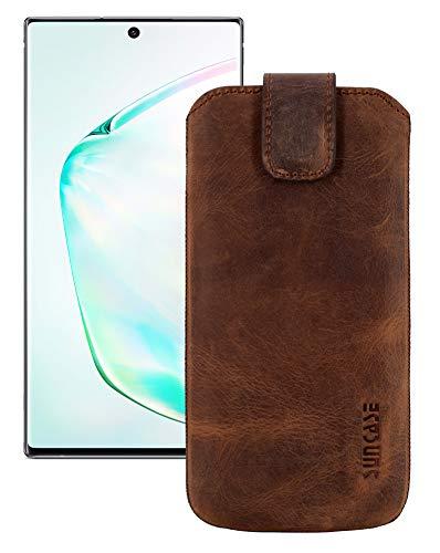 Suncase Etui Tasche kompatibel mit Samsung Galaxy Note 10 Plus mit ZUSÄTZLICHER Hülle/Schale/Bumper Lasche mit Rückzugfunktion Ledertasche Schutzhülle Hülle in antik-Coffee