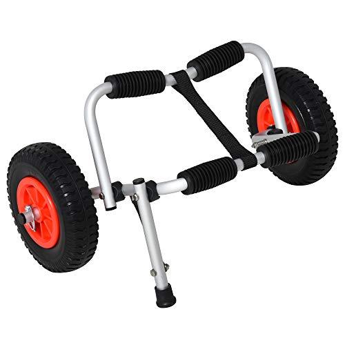 HOMCOM Carro de Transporte Plegable para Kayak Carga 75 kg Aluminio Ajuste Universal con Ruedas para Canoa Embarcación 57,5x33x24 cm Plata
