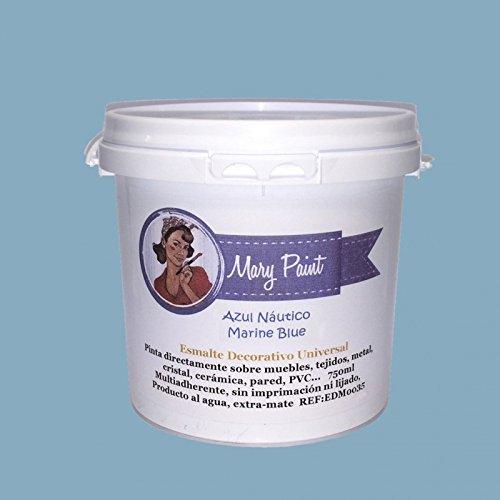 Mary Paint   Pintura para muebles efecto Chalk Paint, Azul Náutico - 750ml