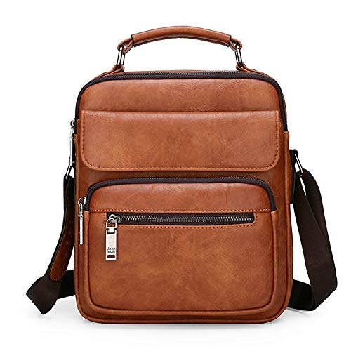 "Men's Leather Crossbody Handbag Daypack For 9.7"" iPad Shoulder Messenger Bag For Men(Orange)"