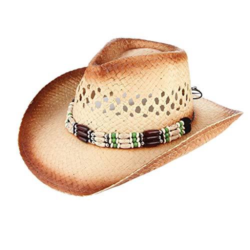 Fenverk Erntehelfer Strohhut (Sonnenschutz) Damen und Herren |Sonnenhut im Trilby-Look | Hut aus Stroh für den Sommer am Strand oder im Urlaub | Verschiedene Größen | Rindleder Ranger Hut(A Khaki)