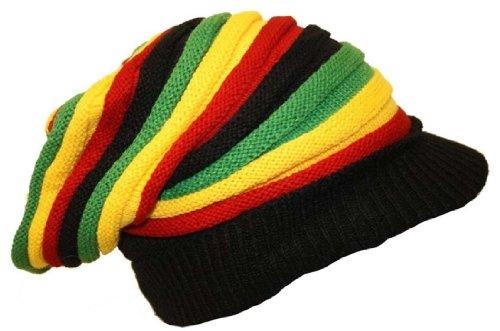 Gorro estilo Bob Marley Rasta Reggae gorro largo con pico de...