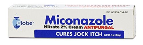 Globe Miconazole Nitrate 2% Antifungal Cream, Cures Most Athletes Foot, Jock Itch, Ringworm. 1 OZ Tube