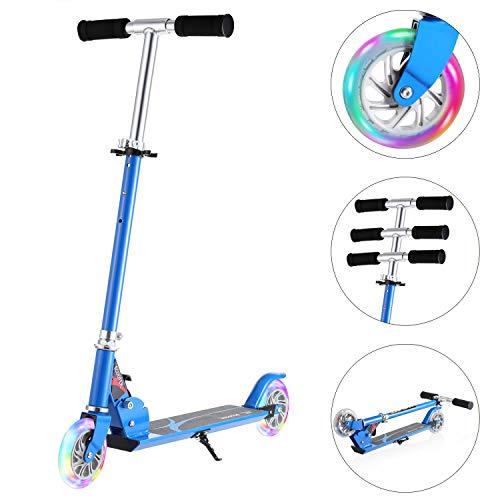 WeSkate Tretroller für Kinder mit 2 Leuchträder,Höhenverstellbar Klappbar Tragbar Roller Scooter für Kinder...