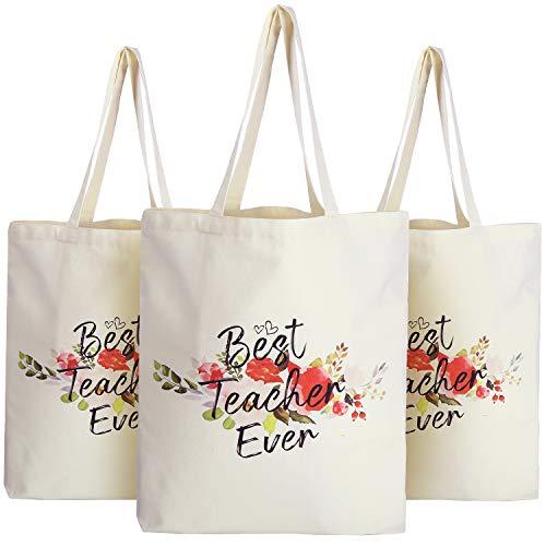 Frienda 3 Bolsas de Tela de Profesor con Bolsillo Bolsas de Mano de Apreciación de Compras Comestibles Viaje de Lona de Algodón Reutilizables para Navidad (Best Teacher Ever)