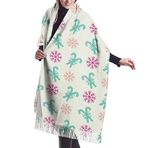 Volwassen Sjaal, Kerstmis Snoepjes En Sneeuwvlok Sjaal Wrap, Decoratieve Unisex Sjaals Voor Wandelen Jagen Fiets, 68x196cm