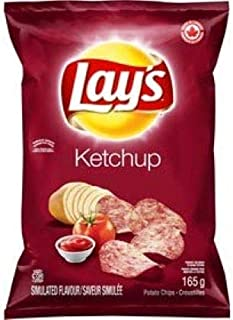 Lays Ketchup Chips - Large Bag - 165 Grams - No Popped Bags - Package comes Bubble Wrapped - Protected While Shipping