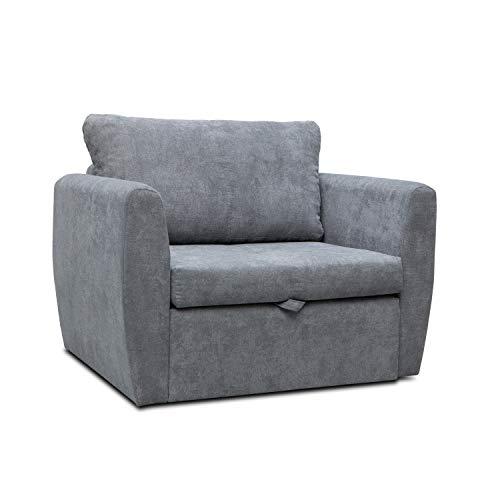 mb-moebel Sofa Sessel mit Schlaffunktion Klappsofa Bettfunktion mit Bettkasten Couch Sofagarnitur Salon Jugendzimmer SARA (dunkelgrau)