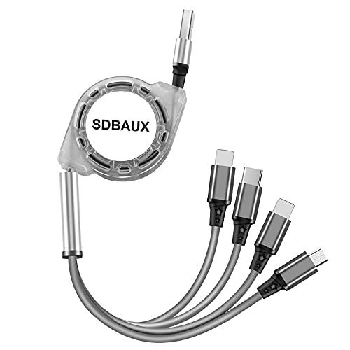 SDBAUX Multi USB Kabel 1M, 4 in 1 Universal Einziehbares Mehrfach Schnell Ladekabel, mit 2 iP/Typ C/Micro USB für Phone 12 11 Pro XR X 8 7 6 Plus, Samsung Galaxy Google Pixel LG Huawei Sony Kindle