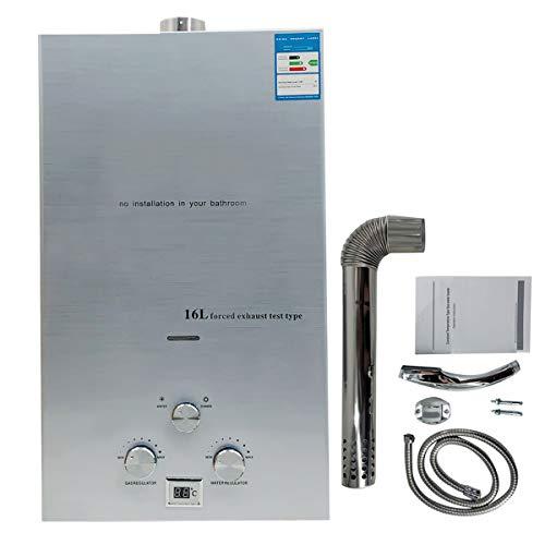 Cozyel 16L Erdgas-Durchlauferhitzer Erdgas Warmwasserbereiter Heißwasserbereiter Durchlauferhitzer Boiler Warmwasserspeicher Tankless Instant mit LED Bildschirm (4.3 GPM)
