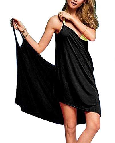 Schnell trocknendes Sarong-Bikinikleid für Damen, mit Spaghettiträgern Gr. onesize, Schwarz