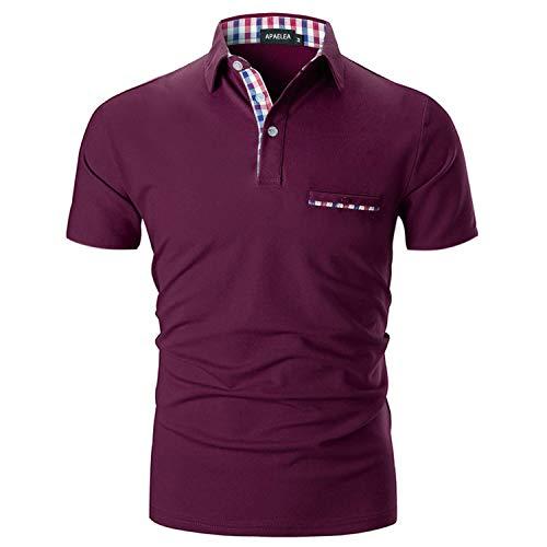 APAELEA Polo Hombre Manga Corta Clásico Cuadros Cuello v Contraste Camiseta Casuales Golf Rojo Vino L